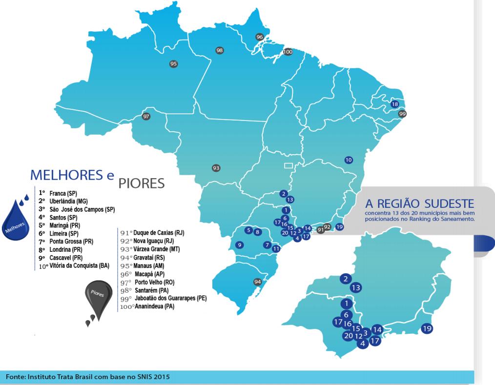 68c1e8c5d5987 Abaixo estão relacionadas as 10 melhores e 10 piores cidades no Ranking do Saneamento  Básico do Brasil. A tabela completa das 100 maiores cidades estudadas ...